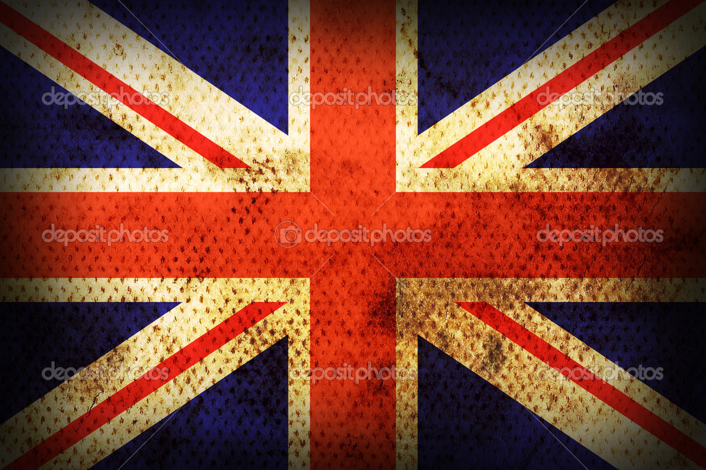 Flag of United kingdom. Weathered burned material — Stock Photo #1025700