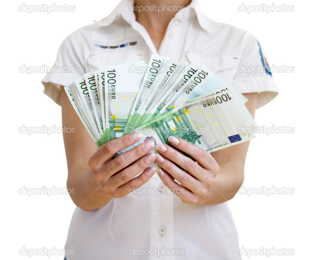 Woman holds in hands of euro — Stock Photo #1033108