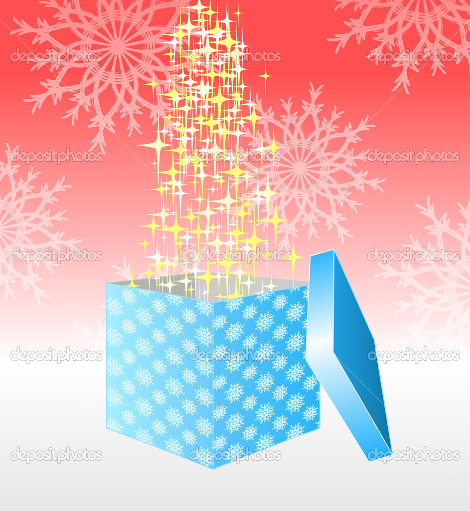 Open gift box. Vector file contains snowflake seamless — Stock Vector #1039763
