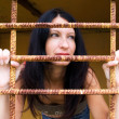 Young woman behind a lattice — Stock Photo