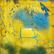 Stock Photo: Weathered blue and yellow surface