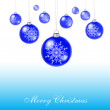 Blue xmas balls — Stock Vector