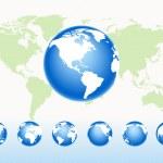 Vector set globes — Stock Vector