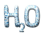 3D water drop letter H2O — Stock Photo
