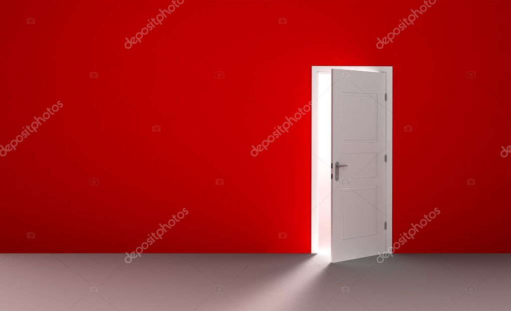 Open white door in a empty red room  Stock Photo #2378976