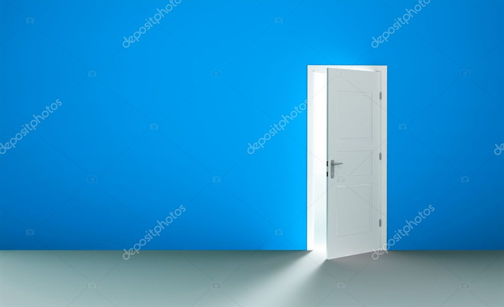 Open white door in a empty blue room  Stock Photo #2505549