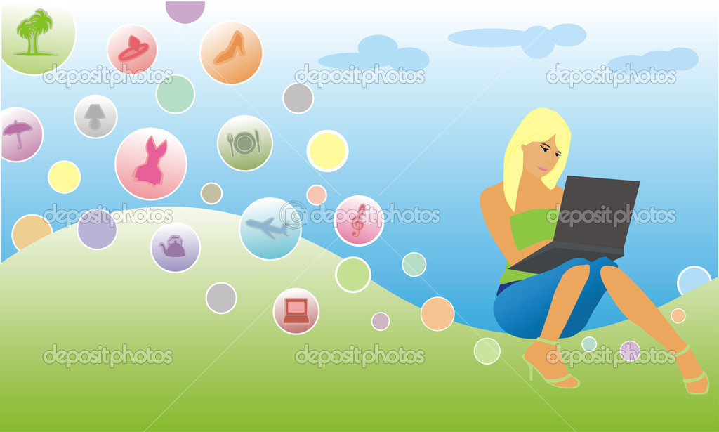 Abstract picture of the girl with the laptop  Stock Vector #1005825