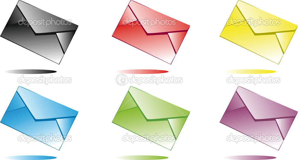 Six multi-coloured envelopes for use as an web icons  Stock Vector #1037031