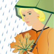 Royalty-Free Stock Vector Image: The girl under an umbrella
