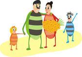 Happy bugs family — Stock Vector