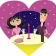 Romantic dinner — Stock Vector