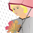 The girl under an umbrella — Stock Vector