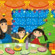 Royalty-Free Stock 矢量图片: Family holiday dinner