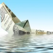 Money ship in water — Stock Photo