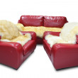 Stock Photo: Red leather sofa