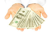 Money with hands — Stock Photo