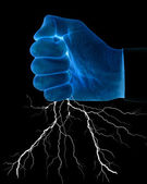 Fist with lightning — Stock Photo