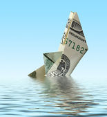 Crisis. money ship in water — Stock Photo