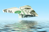 Money plane under water — Stock Photo