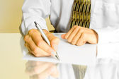 Business man. hands with pen — Stock Photo