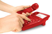 Business work on telephone — Stock Photo