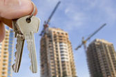 Key with houses — Stock Photo