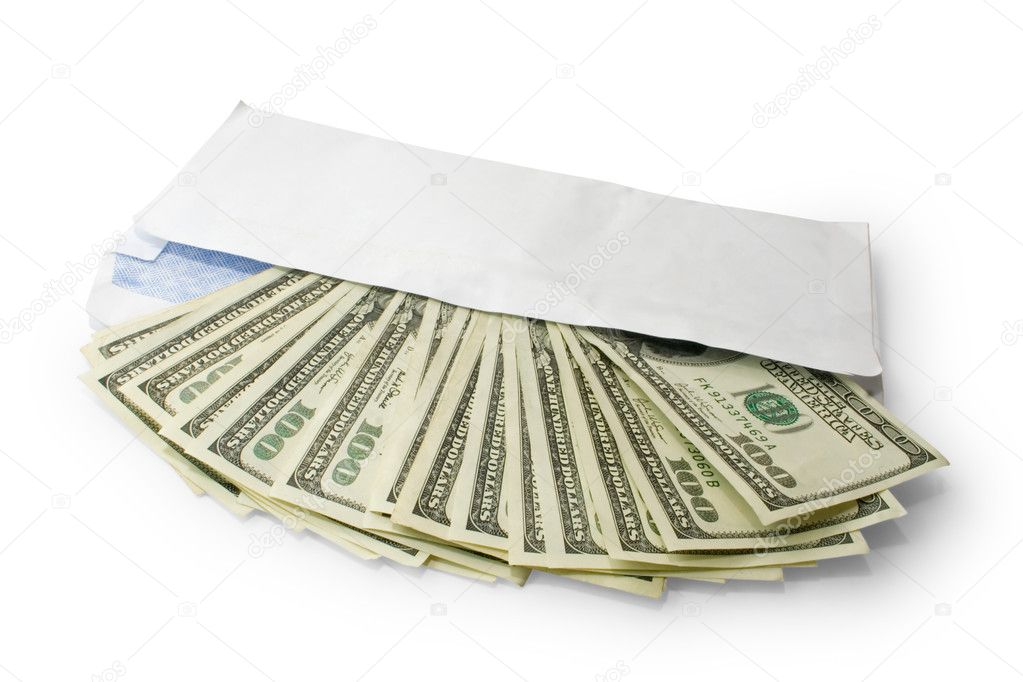 Money in envelope isolated on white — Stock Photo #1011488