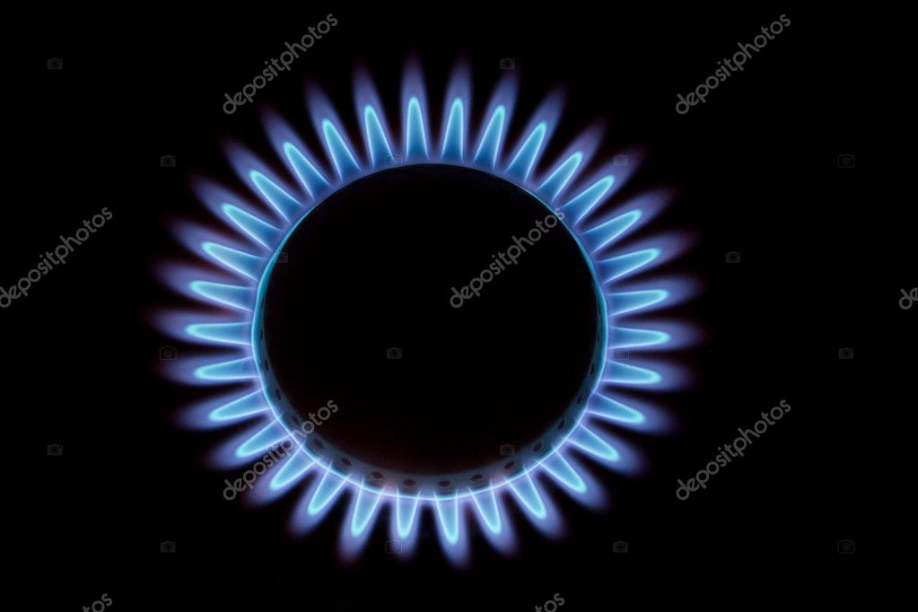 Blue flame of gas on black — Stock Photo #1013694