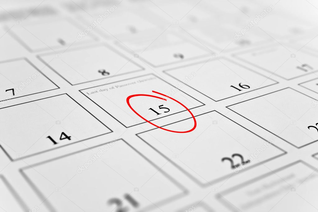 Month calendar with focus on day 15 — Stock Photo #1014972