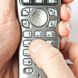 Finger with phone — Stock Photo