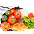 Food with shopping bag — Stock Photo