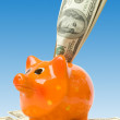 Piggy bank with money — Stock Photo