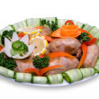 Sausages in vegetables. contains clipping paths — Stock Photo #1036656