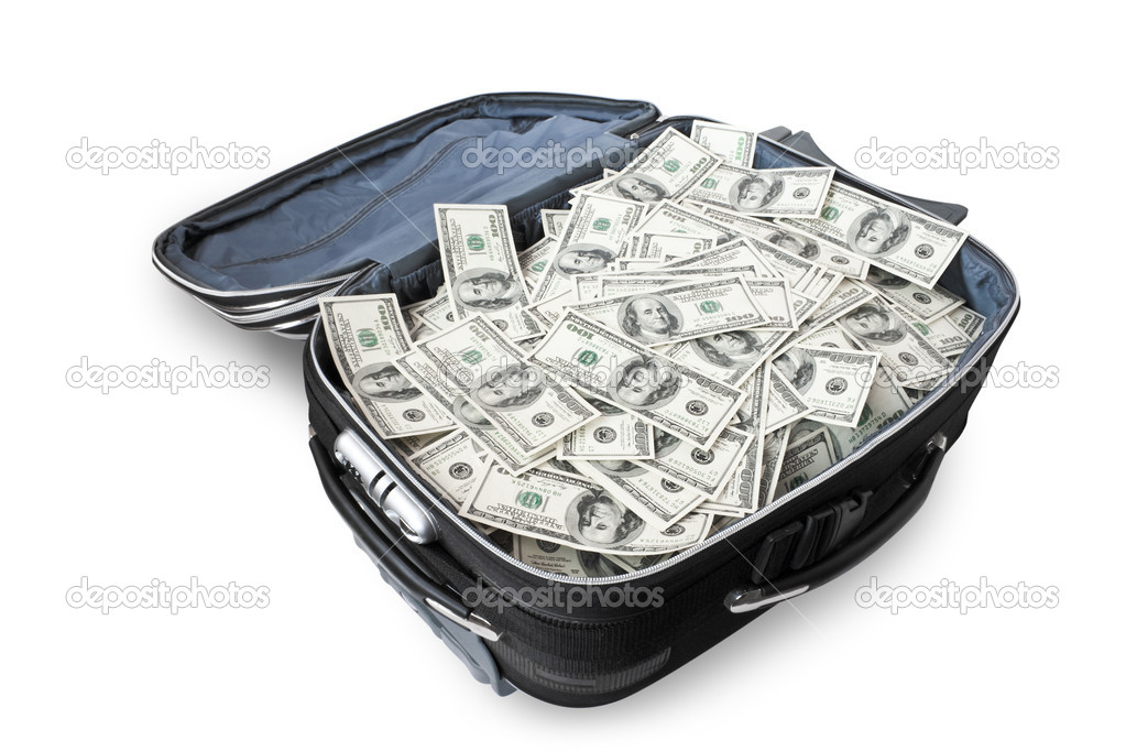 Lot of money in a suitcase isolated on white — Stock Photo #1035830