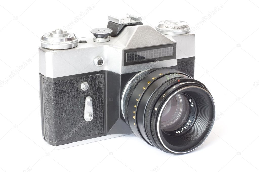Old antique photo camera isolated on white — Stock Photo #1036704