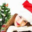 Girl and Christmas tree — Foto Stock