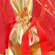 Gift bag on the red background — Stok fotoğraf