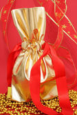 Gift bag on the red background — Stock Photo