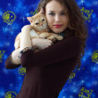 Stock Photo: Girl with a British cat