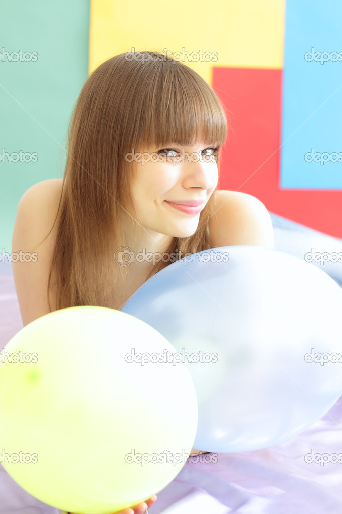 Girl about a colored background — Stock Photo #2360812