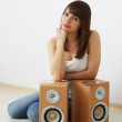 Girl and two acoustic dynamics — Stock Photo
