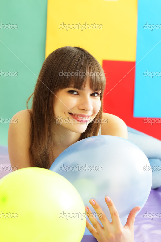 Girl about a colored background — Stock Photo #2526291