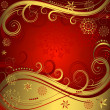 Red and golden christmas background — Stock Vector