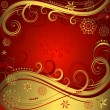 Stock Vector: Red and golden christmas background