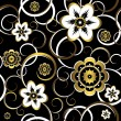 Seamless floral decorative black pattern — ストックベクタ