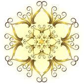 Golden vintage snowflake (vector) — Stock Vector