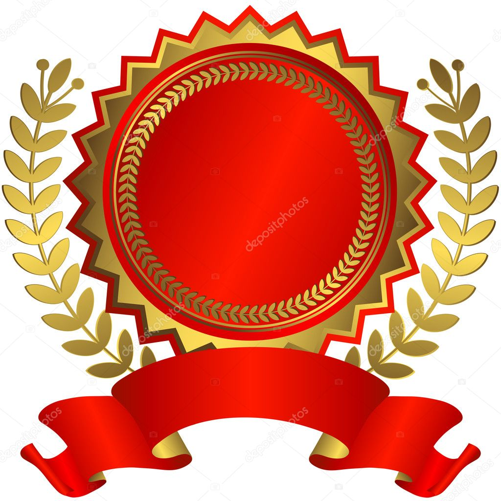 Red and golden award with red ribbon (vector)  — Stock Vector #1005935