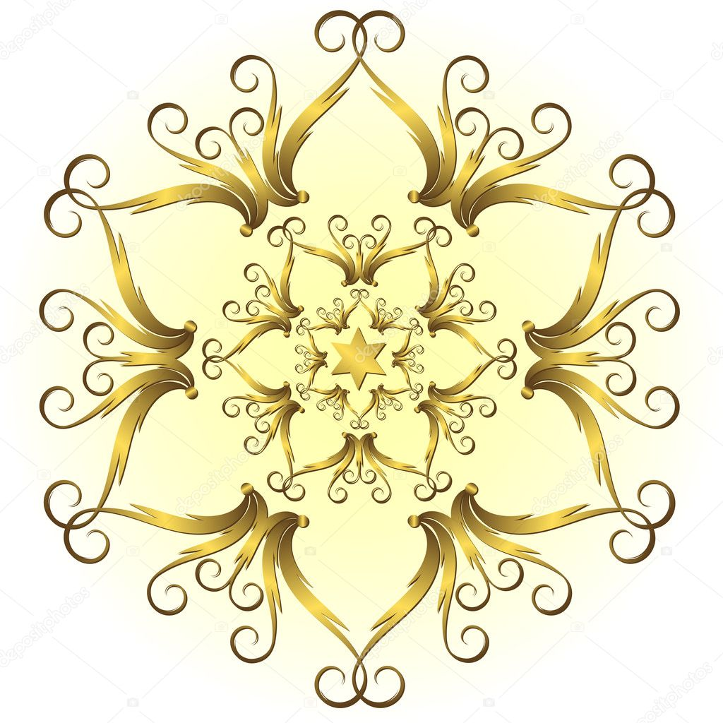 Golden vintage snowflake on white and yellow background (vector) — Stock Vector #1006158