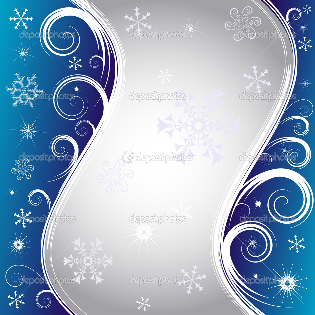 Blue christmas background with silvery frame and snowflakes (vector) — Stock Vector #1006295