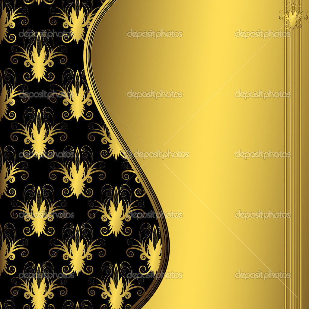 Abstract floral black and gold decorative frame (vector) — Stock Vector #1006453